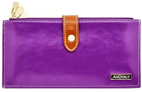 ANDOILT Women's Genuine Leather Wallet RFID Blocking Credit Card Holder Zipper Purse Cell  ...
