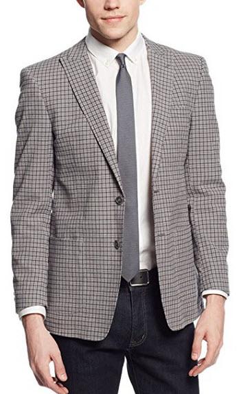 Andrew Marc Gray Plaid Half Lined Stretch Cotton Seersucker Blazer Sportcoat.