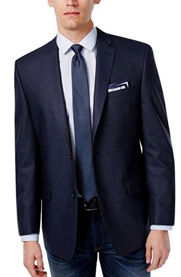 Andrew Marc NY Navy Textured Two Button Silk & Wool New Men's Sport Coat.