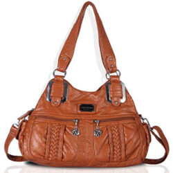 Angel Barcelo Womens Fashion Handbags Purse Shoulder Bag, 38 brown