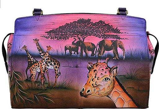 Anna by Anuschka Genuine Leather Large Satchel Shoulder Bag serengeti sunset
