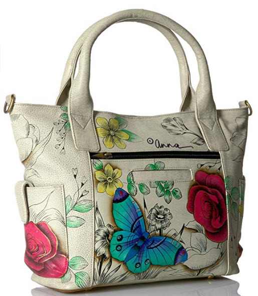 Anna by Anuschka Handpainted Leather Women's Convertible Large Tote, floral paradise