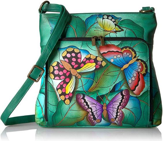 Anna by Anuschka Women's Genuine Leather Convertible Shoulder Handbag | Hand Painted Origi ...