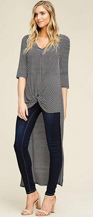 Annabelle Womens Front Knot Twist Detail Hi Low Full Length Tunic Tops S-L black ivory stripes