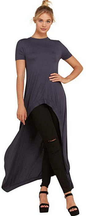 Annabelle Women's Hi Low Curved Front Slit Look Short Sleeve Tunic Fashion Tops S-3XL slate