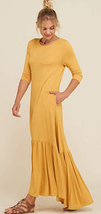 Annabelle Women's 3/4 Sleeve Ruffled Hi Low Hemline Maxi Pocketed Dresses S-3XL mustard