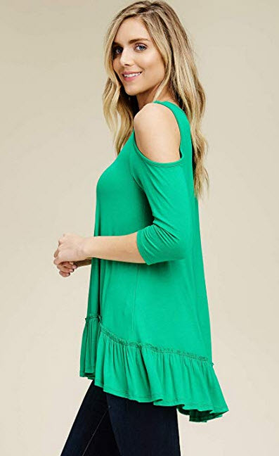 Annabelle Women's Solid Cold Shoulder 3/4 Sleeve Hi Low Ruffle Hem Top S-L kelly green