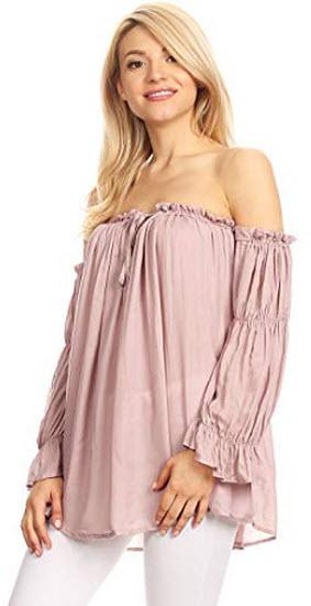 Anna-Kaci Womens Semi Sheer Boho Peasant Long Sleeve Off The Shoulder Top, pink