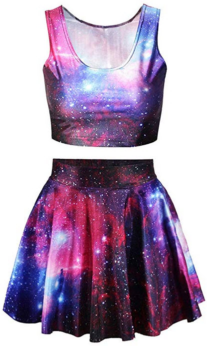 Annaqueen Womens Galaxy Print Crop Tank Top and Skater Skirt 2 Pieces Outfits rose red