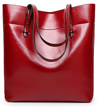 Annystore Womens Leather Tote Bags Hobo Handbags Top Handle Satchels Bag Purse, red