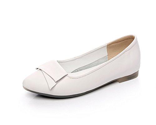 Antiordin Women's Leather Ballet Flats Slip-Ons Pumps Shoes 2046SN