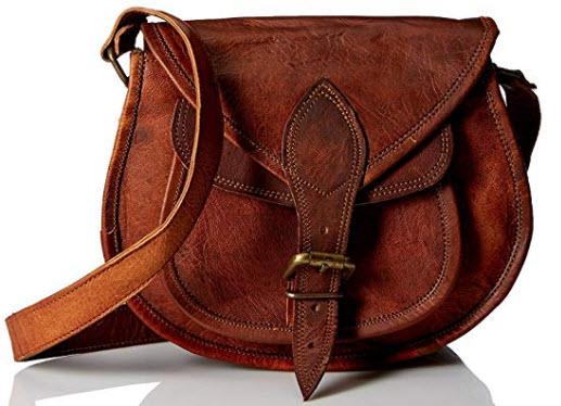AOL Women Vintage Style Genuine Brown Leather Cross Body Shoulder Bag Handmade Purse