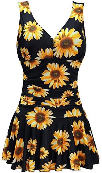 AONTUS Women's Plus Size Swimsuits Tummy Control One Piece Swim Dresses Bathing Suit, sunf ...