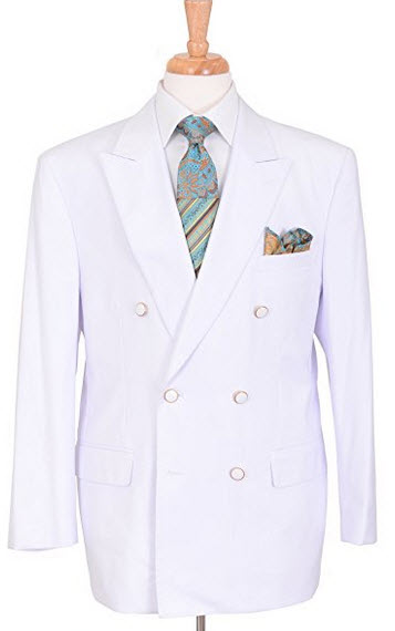 Apollo King Classic Fit Solid White Double Breasted Blazer Sportcoat.