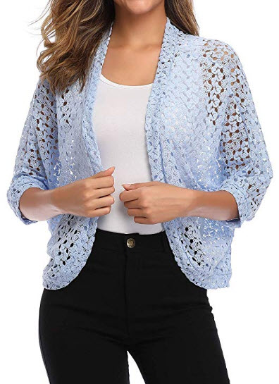 Aranmei Women's 3 4 Sleeve Shrug Lace Crochet Bolero Open Front Cardigan Jacket