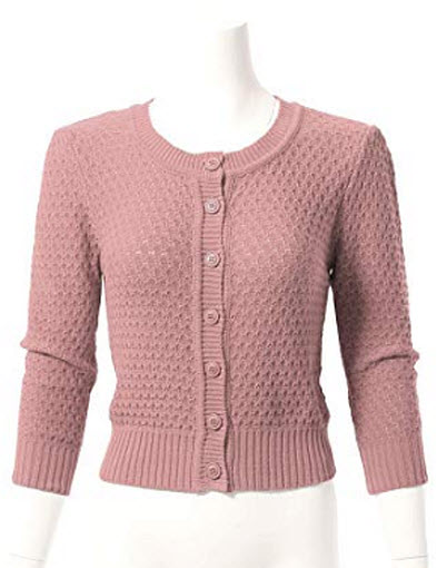 ARC Studio Womens Button Down 3/4 Sleeve Cropped Knit Cardigan Crochet Sweater, blush