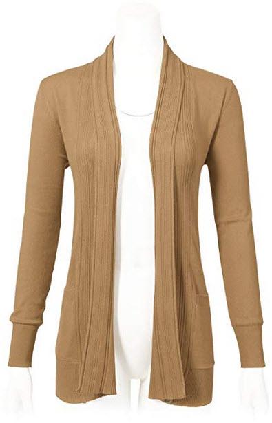 ARC Studio Women's Long Sleeve Open Front Draped Cardigans with Pocket khaki