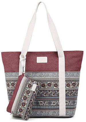 ArcEnCiel Canvas Tote Womens Shoulder Handbag with Purse maroon