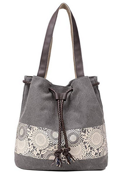 ArcEnCiel Women's Canvas Shoulder Hand Bag Tote Bag gray
