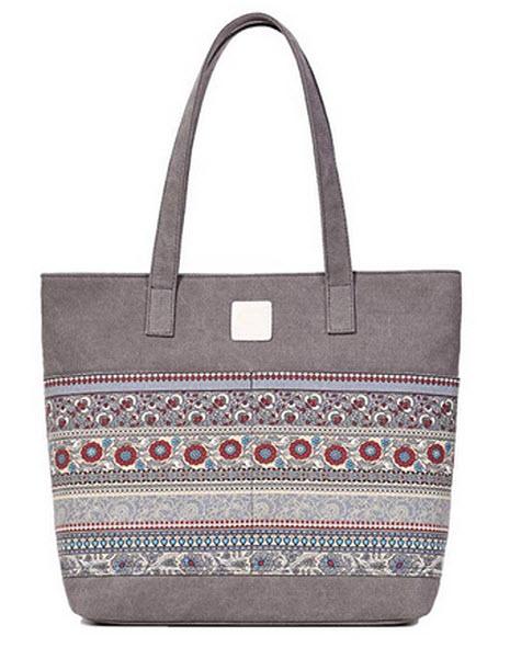 ArcEnCiel Women's Casual Canvas Tote Bags Shoulder Handbag Travel Bag grey