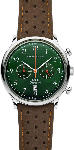 Armogan E.N.B – Emerald Green S52 – Men's Chronograph Watch Brown Suede Leather Strap