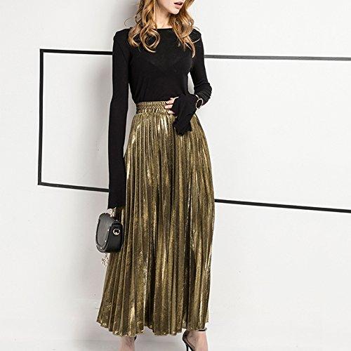 Aro Lora Women's Beach Metallic Shiny High Waist Pleated Long Maxi Skirt