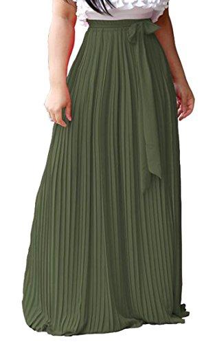 ARTFFEL Womens High Waist Solid Bow Tie Long Maxi Flared Pleated Skirts