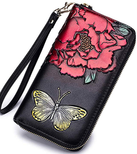 As You Like ItWomen's RFID Block Genuine Leather Floral Large Capacity Travel Clutch Wallet