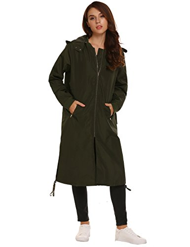 Asatr Women's Lightweight Zipper Pocket Hooded Long Windproof Rain Jacket