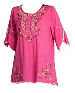 ASHER FASHION Girls Embroidered Peasant Tops Bohemian Blouses Tunic, hot pink