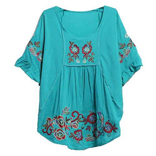 Ashir Aley Batwing Floral Embroidered Loosen Peasant Butterfly Mexican Blouse