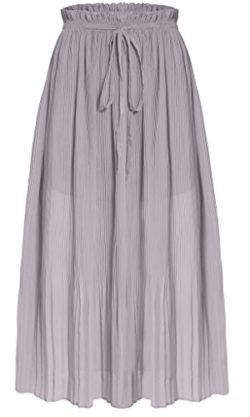 Ashir Aley Woman's Chiffon Ankle Length Long Pleated Retro Maxi Skirt