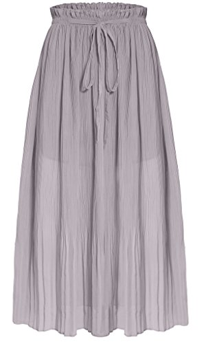 Ashir Aley Woman's Chiffon Ankle Length Long Pleated Retro Maxi Skirt