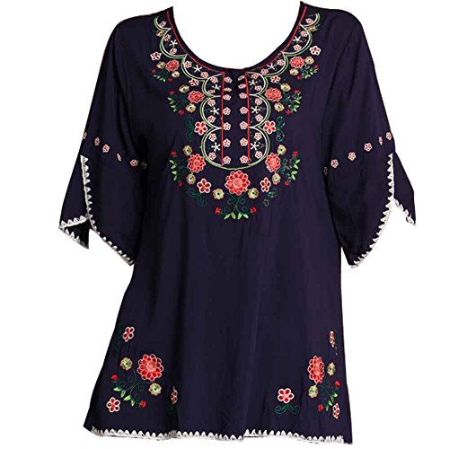 Ashir Aley Womens Girls Embroidered Peasant Top