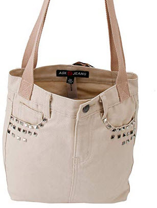 ASK 4 JEANS Denim Twill Canvas Jeans Purse Tote Shoulder Hand bags For Women beige