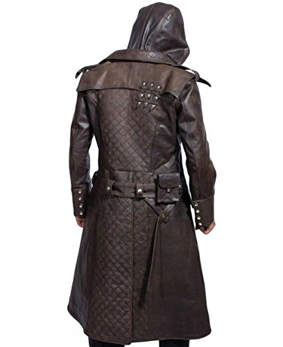 Assassin Real Leather Jacket Brown Long Trench Hoodie Coat by SuperJackets.
