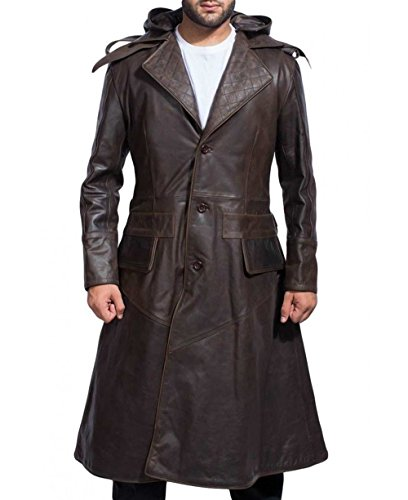 Assassin Real Leather Jacket Brown Long Trench Hoodie Coat Jacket