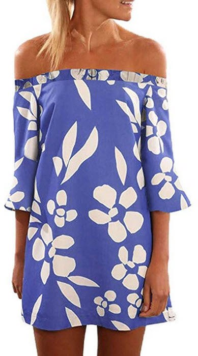 Asvivid Womens Off The Shoulder 3 4 SleeveFloral Printed Loose Mini Dress a-blue