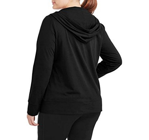 Athletic Works Women's Plus-Size Full Zip Active Hoodie Jacket Black XXL
