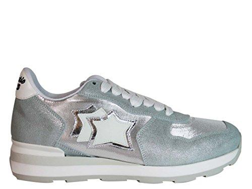 ATLANTIC STARS Women's VEGACAA86B Silver Leather Sneakers