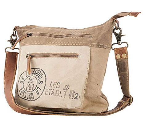 Au Puy French Post Leather & Canvas Shoulder Bag Purse by Clea Ray
