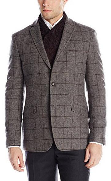 Austin Reed Men's Light Grey Wool Plaid 2 Button Sport Coat.