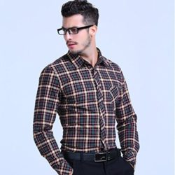 AvaCostume Men's Long Sleeve Flannel Plaid Shirt Button Down