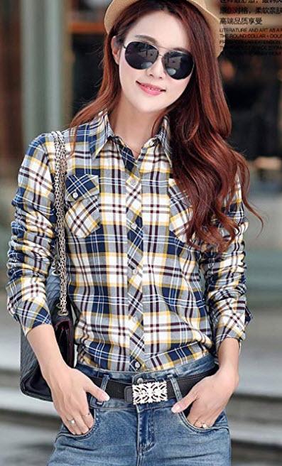 AvaCostume Womens Casual Fleece Winter Plaid Slim Shirt Blouse blue and yellow