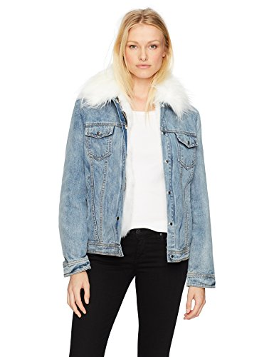 Avec Les Filles Women's Denim Trucker Jacket With Detachable Faux Fur Lining
