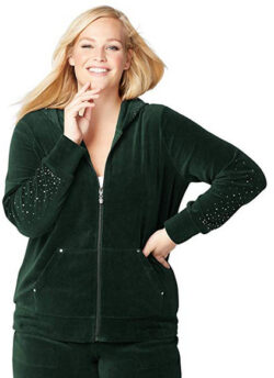 Avenue Women's Scattered Stones Velour Active Jacket green