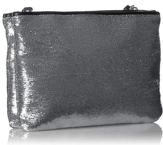 A|X Armani Exchange Sequined Pouch silver
