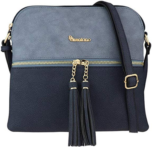 B BRENTANO Vegan Lightweight Crossbody Bag with Tassel Accents Medium navy denim blue