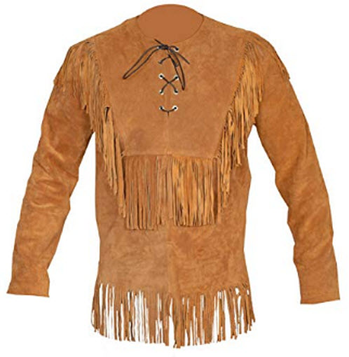 Baba Geniuse International Men's Suede Western Cowboy Leather Shirt with Fringe