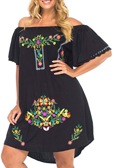 Back From Bali Womens Plus Size Mexican Embroidered Dress, Off The Shoulder Mexican Peasant Dres ...